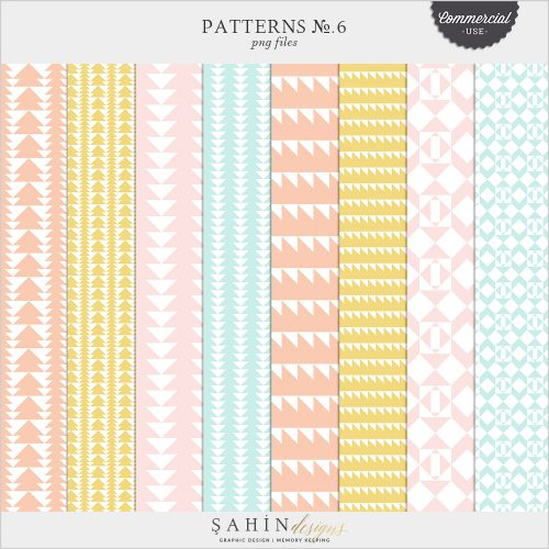 Patterns No.6 Digital Scrapbook Pattern Templates for Commercial Use by Sahin Designs
