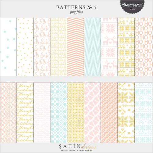 Patterns No.7 Digital Scrapbook Pattern Templates for Commercial Use by Sahin Designs