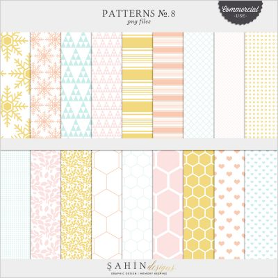 Patterns No.8 Digital Scrapbook Pattern Templates for Commercial Use by Sahin Designs