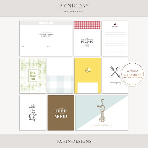 Picnic Day Printable Pocket Cards - Sahin Designs