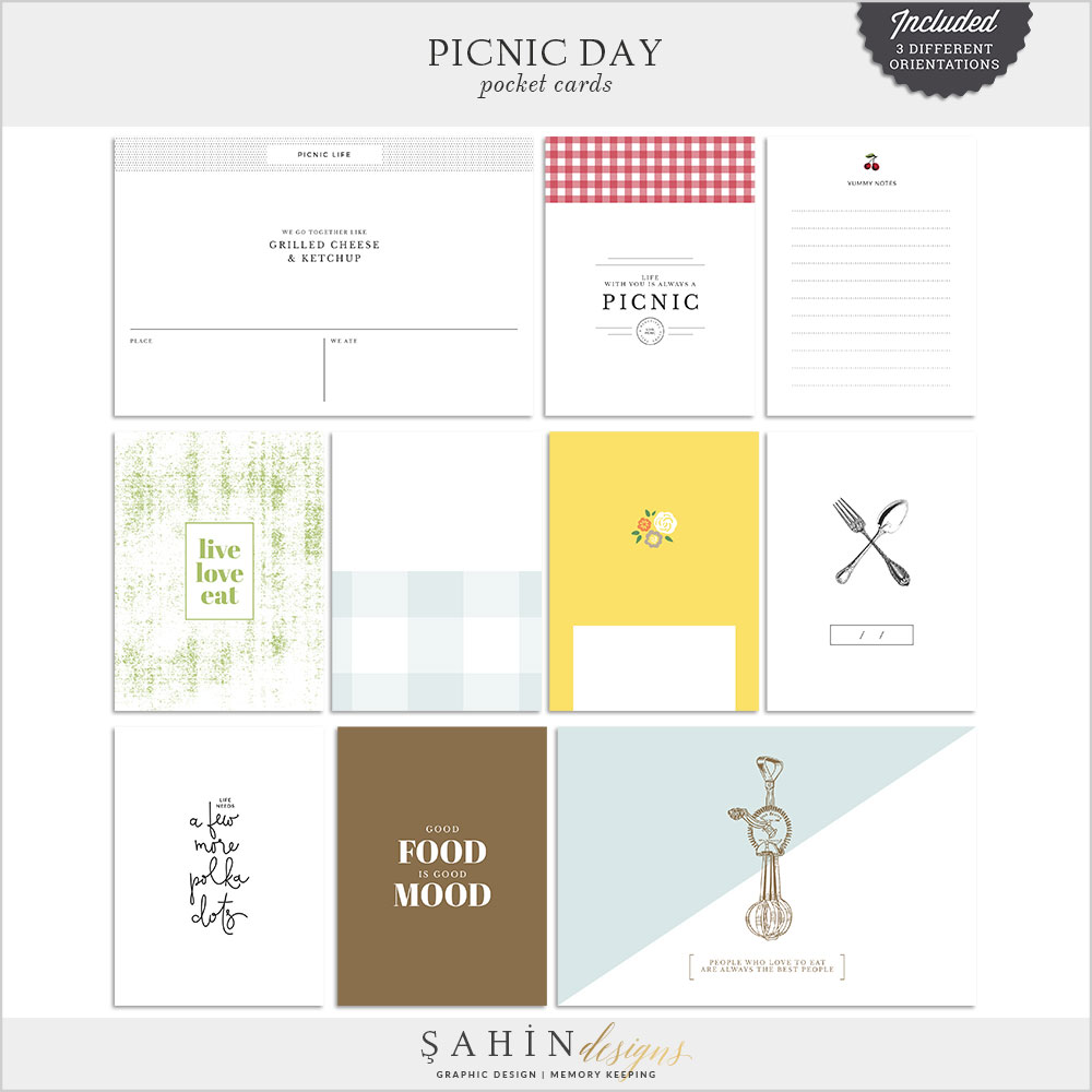 Picnic Day Digital Scrapbook Pocket Cards by Sahin Designs. Click to download the kit. Pin & save for later!