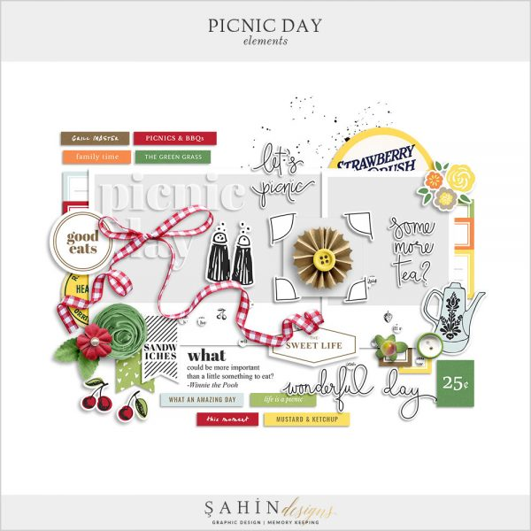 Picnic Day Digital Scrapbook Elements by Sahin Designs. Click to download the kit. Pin & save for later!