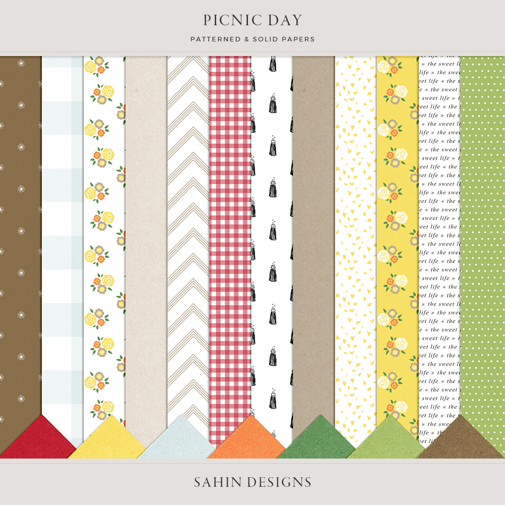 Picnic Day Digital Scrapbook Papers - Sahin Designs