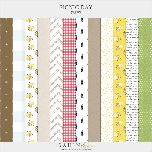Picnic Day Digital Scrapbook Papers by Sahin Designs. Click to download the kit. Pin & save for later!