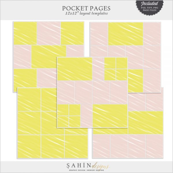 Pocket Pages Digital Scrapbook Layout Templates by Sahin Designs. Click to download the kit. Pin & save for later!