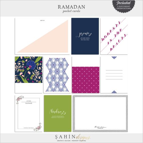 Ramadan Digital Scrapbook Pocket Cards by Sahin Designs. Click to download the kit. Pin & save for later!