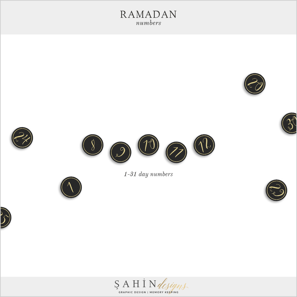 Ramadan Digital Scrapbook Numbers by Sahin Designs. Click to download the kit. Pin & save for later!