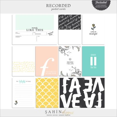 Recorded Digital Scrapbook Pocket Cards by Sahin Designs. Click to download the kit. Pin & save for later!