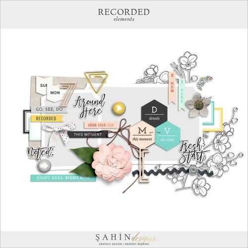 Recorded Digital Scrapbook Elements by Sahin Designs. Click to download the kit. Pin & save for later!