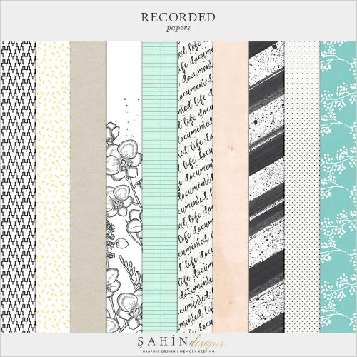 Recorded Digital Scrapbook Papers by Sahin Designs. Click to download the kit. Pin & save for later!