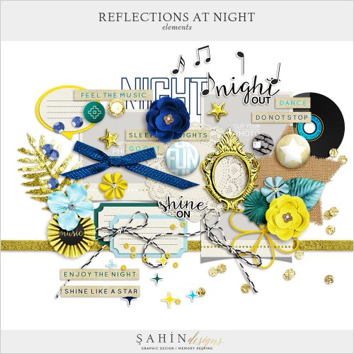 Reflections At Night Digital Scrapbook Elements by Sahin Designs. Click to download the kit. Pin & save for later!