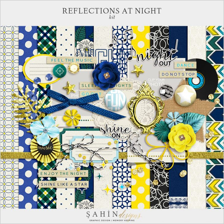 Reflections At Night Digital Scrapbook Kit by Sahin Designs. Click to download the kit. Pin & save for later!