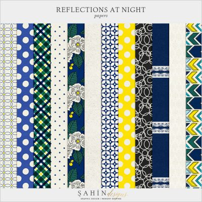 Reflections At Night Digital Scrapbook Papers by Sahin Designs. Click to download the kit. Pin & save for later!