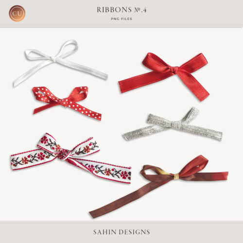 Ribbons No.4 by Sahin Designs. Commercial Use Digital Scrapbook Supplies. Click to download the kit. Pin & save for later!
