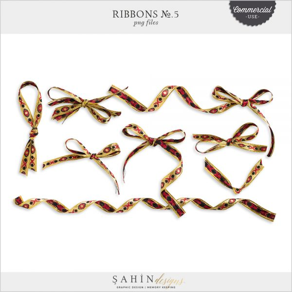 Ribbons No.5 by Sahin Designs. Commercial Use Digital Scrapbook Supplies. Click to download the kit. Pin & save for later!