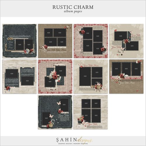 Rustic Charm Digital Scrapbook Album Pages by Sahin Designs. Click to download the kit. Pin & save for later!