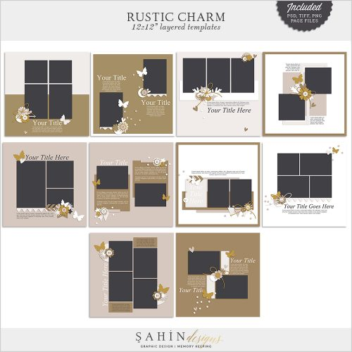 Rustic Charm Digital Scrapbook Layout Templates/Sketches by Sahin Designs. Click to download the kit. Pin & save for later!