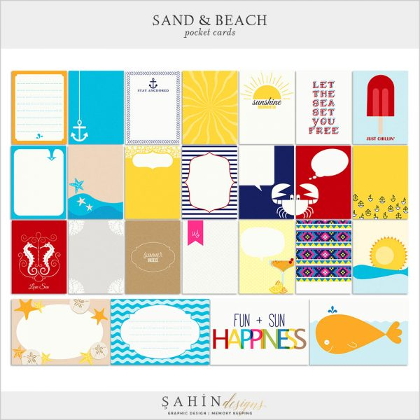Sand & Beach Digital Scrapbook Pocket Cards by Sahin Designs. Click thru to download. Pin & save for later!