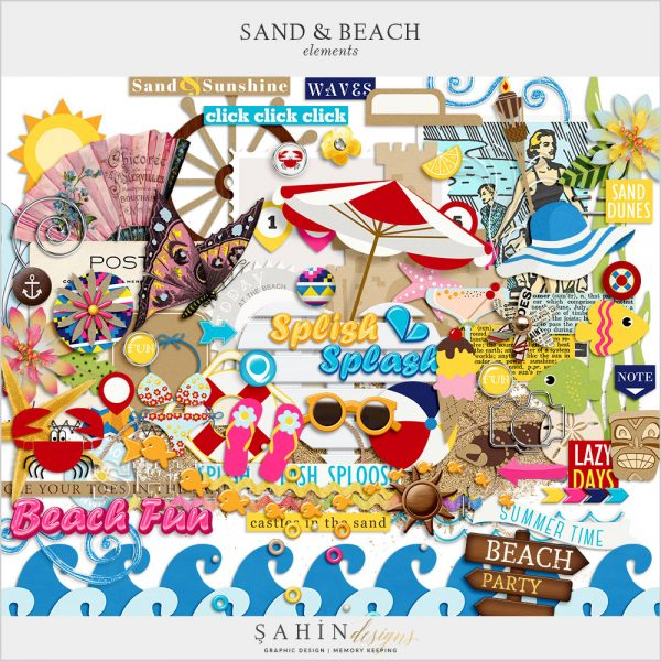Sand & Beach Digital Scrapbook Elements by Sahin Designs. Click thru to download. Pin & save for later!