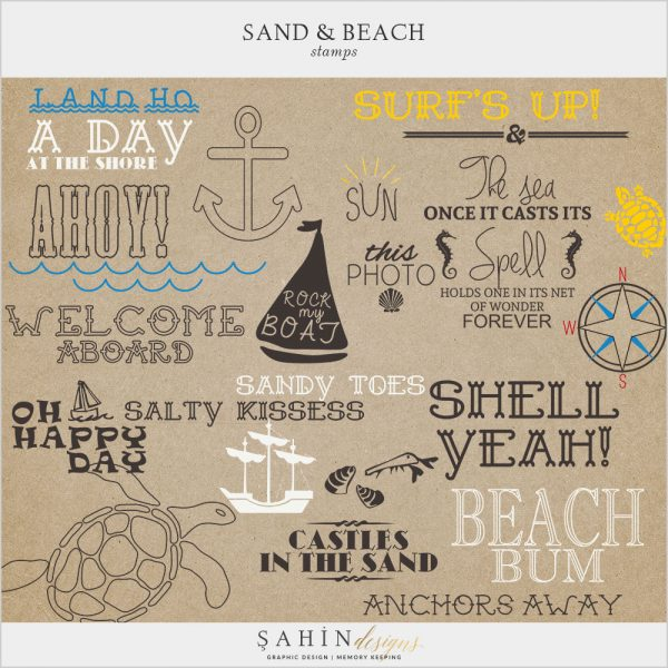 Sand & Beach Digital Scrapbook Stamps by Sahin Designs. Click thru to download. Pin & save for later!
