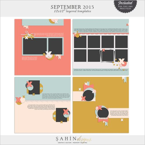 September 2015 Digital Scrapbook Layout Templates/Sketches by Sahin Designs. Click to download the kit. Pin & save for later!
