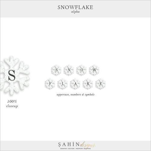 Snowflake Digital Scrapbook Alpha by Sahin Designs. Click to download the kit. Pin & save for later!