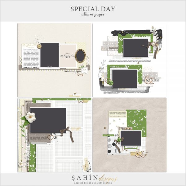 Special Day Digital Scrapbook Album Pages by Sahin Designs. Click to download the kit. Pin & save for later!