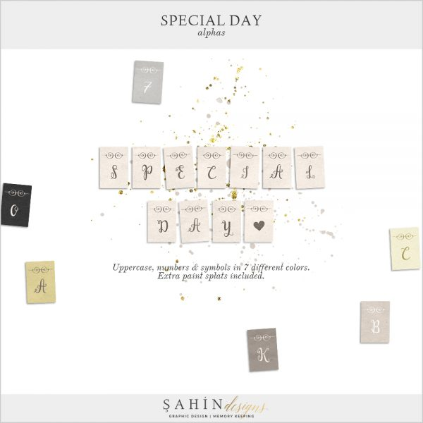 Special Day Digital Scrapbook Alphas by Sahin Designs. Click to download the kit. Pin & save for later!