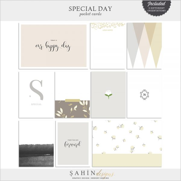 Special Day Digital Scrapbook Pocket Cards by Sahin Designs. Click to download the kit. Pin & save for later!