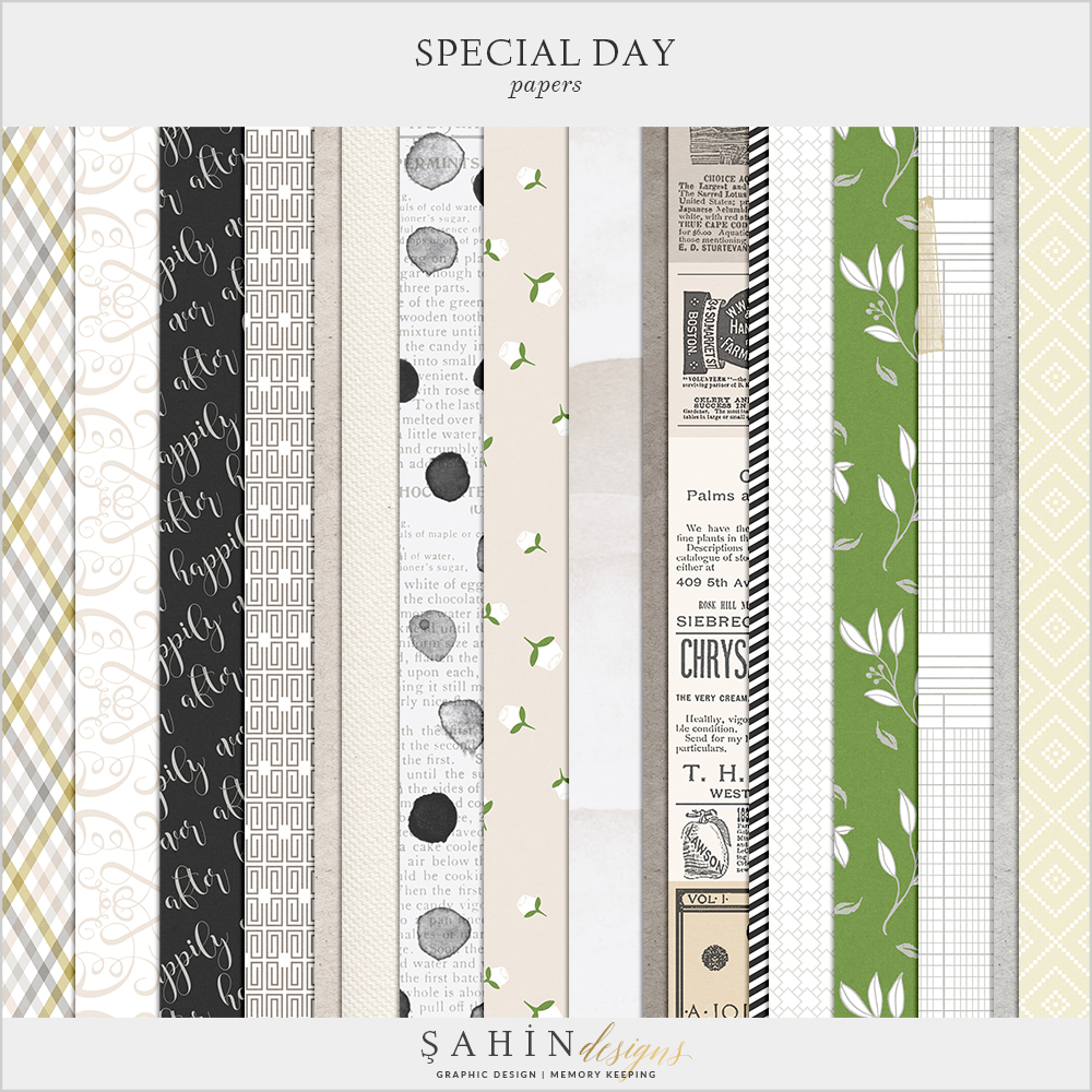 Special Day Digital Scrapbook Papers by Sahin Designs. Click to download the kit. Pin & save for later!