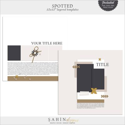 Spotted Digital Scrapbook Layout Templates/Sketches by Sahin Designs. Click to download the kit. Pin & save for later!