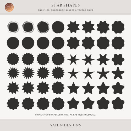 Star Vector Shapes and Photoshop Shapes by Sahin Designs. Commercial Use Digital Scrapbook Supplies. Click to download the kit. Pin & save for later!