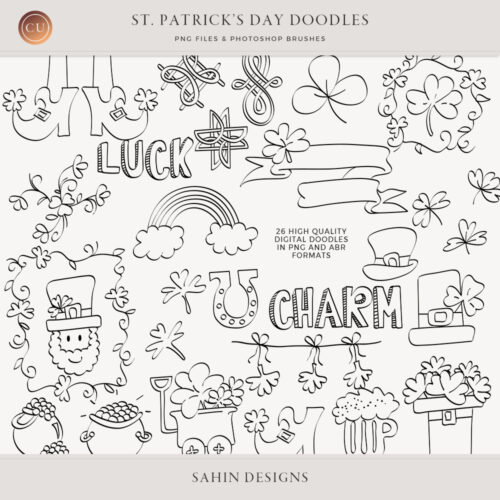 St. Patrick's Day Digital Scrapbook Doodles by Sahin Designs. Commercial Use Digital Scrapbook Supplies. Click to download the kit. Pin & save for later!