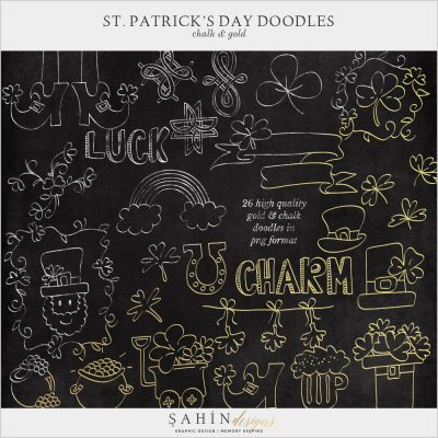 St. Patrick's Day Digital Scrapbook Gold & Chalk Doodles by Sahin Designs. Commercial Use Digital Scrapbook Supplies. Click to download the kit. Pin & save for later!