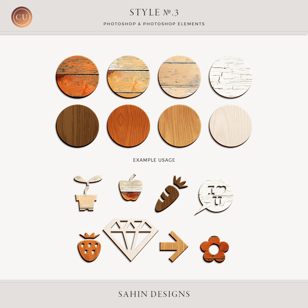Wood Photoshop Layer Styles by Sahin Designs. Commercial Use Digital Scrapbook Supplies. Click to download the kit. Pin & save for later!