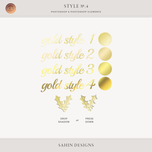 Gold Photoshop Layer Styles by Sahin Designs. Commercial Use Digital Scrapbook Supplies. Click to download the kit. Pin & save for later!