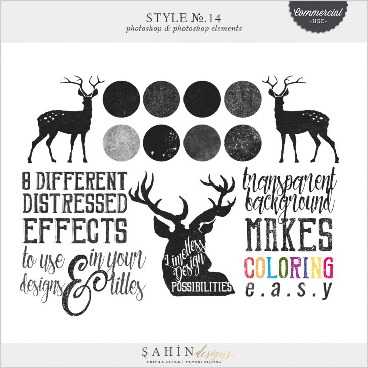 Distressed Photoshop Layer Styles by Sahin Designs. Commercial Use Digital Scrapbook Supplies. Click to download the kit. Pin & save for later!