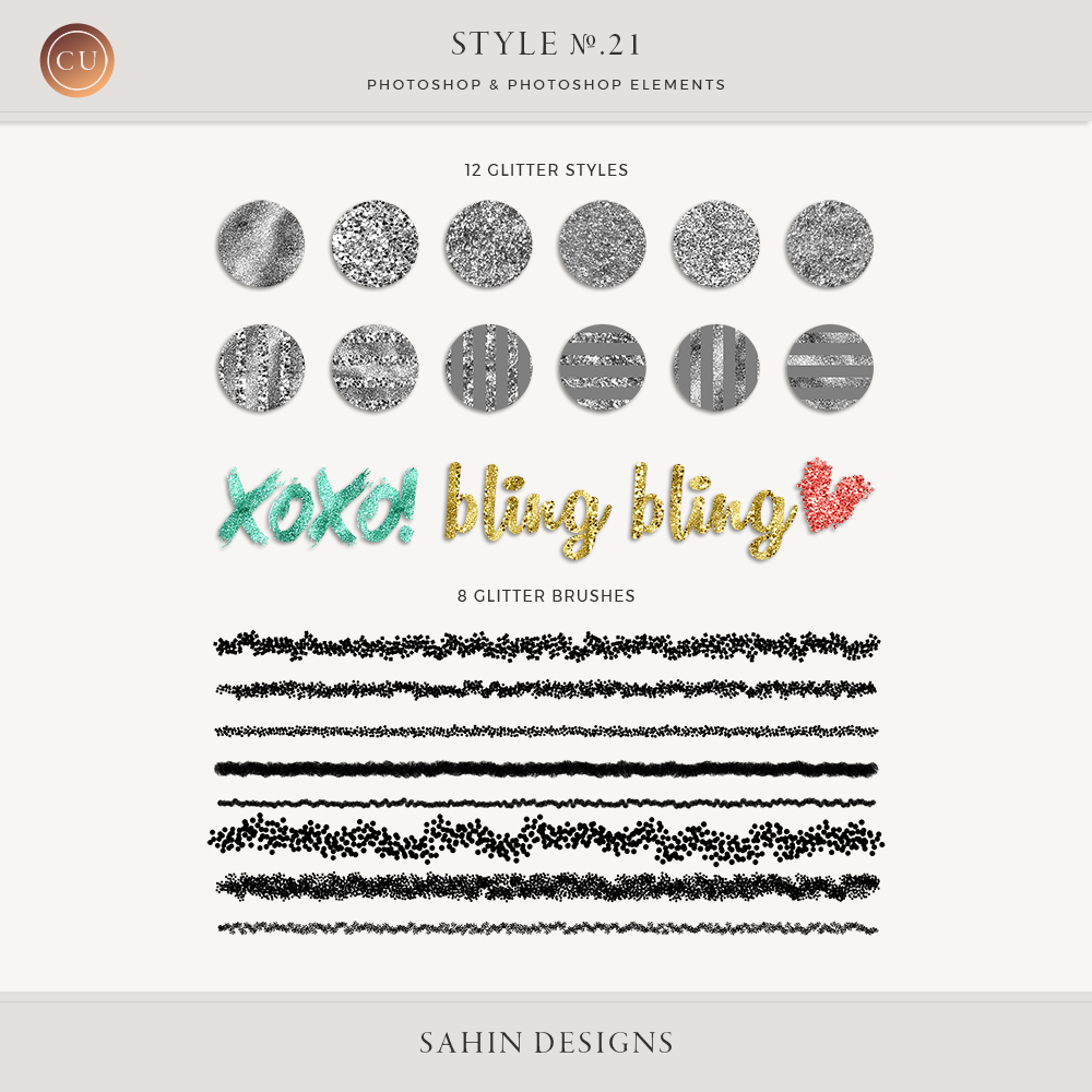 Glitter Photoshop Layer Styles by Sahin Designs. Commercial Use Digital Scrapbook Supplies. Click to download the kit. Pin & save for later!