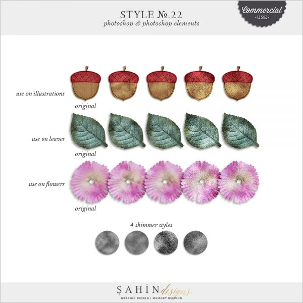Shimmer Photoshop Layer Styles by Sahin Designs. Commercial Use Digital Scrapbook Supplies. Click to download the kit. Pin & save for later!