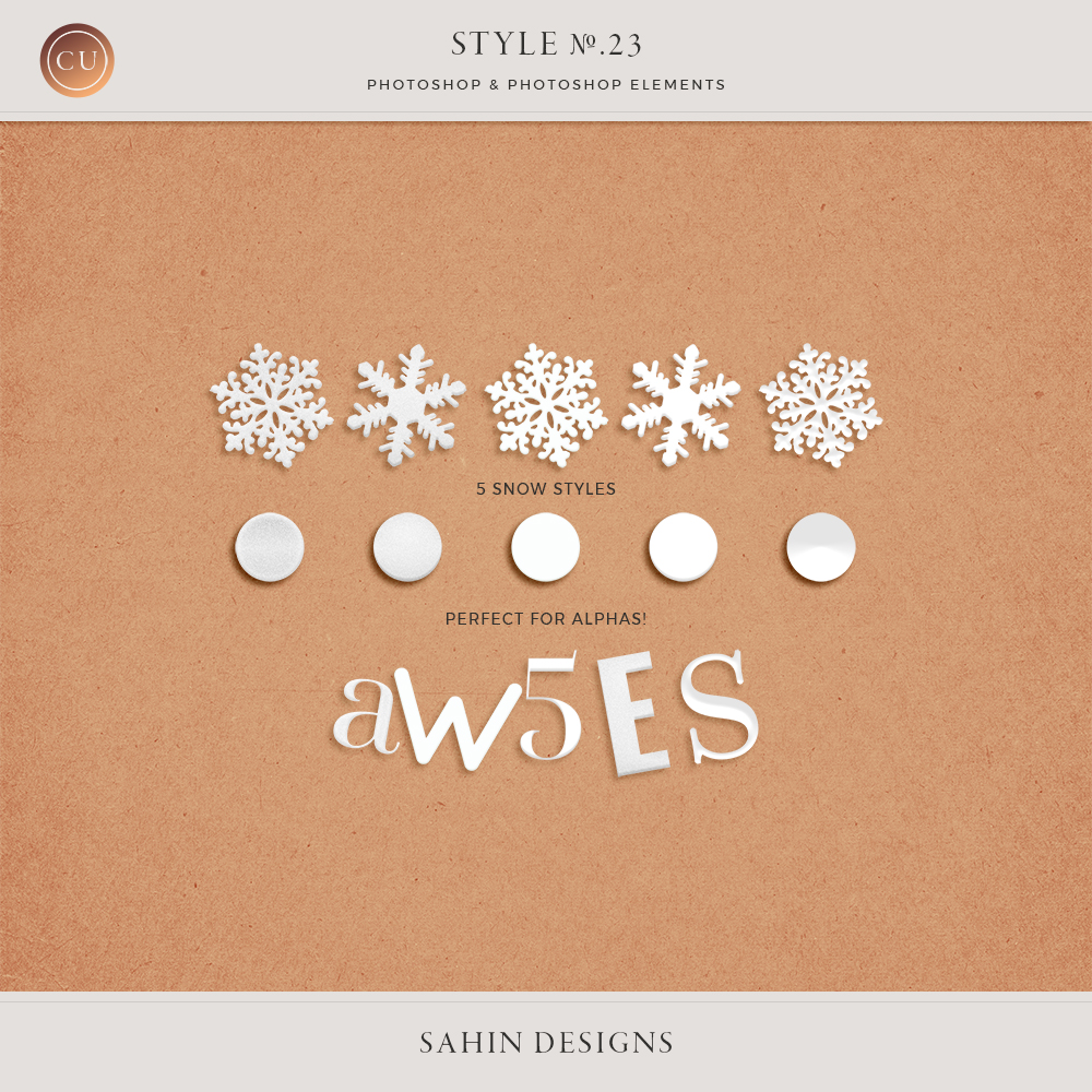 Snow Photoshop Layer Styles by Sahin Designs. Commercial Use Digital Scrapbook Supplies. Click to download the kit. Pin & save for later!