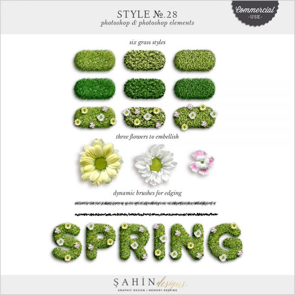 Grass Photoshop Layer Styles by Sahin Designs. Commercial Use Digital Scrapbook Supplies. Click to download the kit. Pin & save for later!