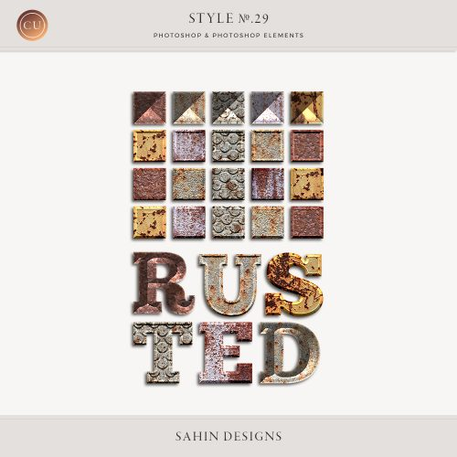 Rusted Metal Photoshop Layer Styles by Sahin Designs. Commercial Use Digital Scrapbook Supplies. Click to download the kit. Pin & save for later!