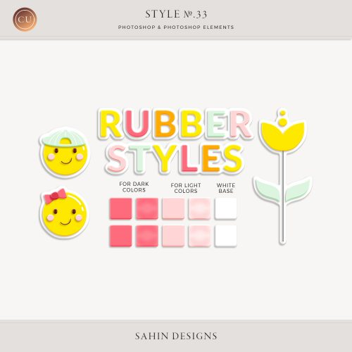 Rubber Photoshop Layer Styles by Sahin Designs. Commercial Use Digital Scrapbook Supplies. Click to download the kit. Pin & save for later!