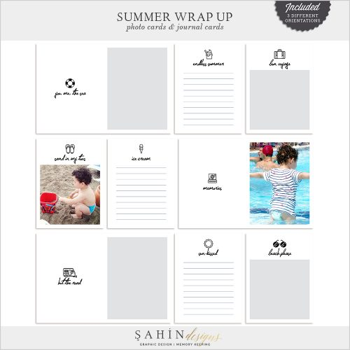 Summer Wrap Up Digital Scrapbook Pocket Cards by Sahin Designs. Click to download the kit. Pin & save for later!