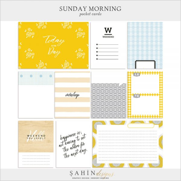 Sunday Morning Digital Scrapbook Pocket Cards by Sahin Designs. Click to download the kit. Pin & save for later!