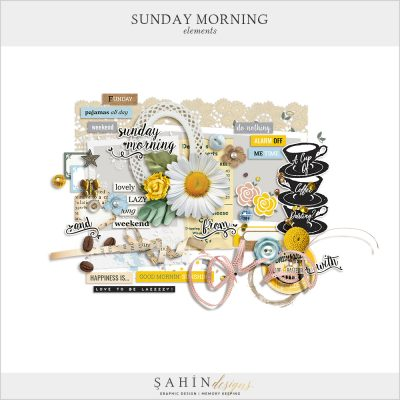 Sunday Morning Digital Scrapbook Elements by Sahin Designs. Click to download the kit. Pin & save for later!