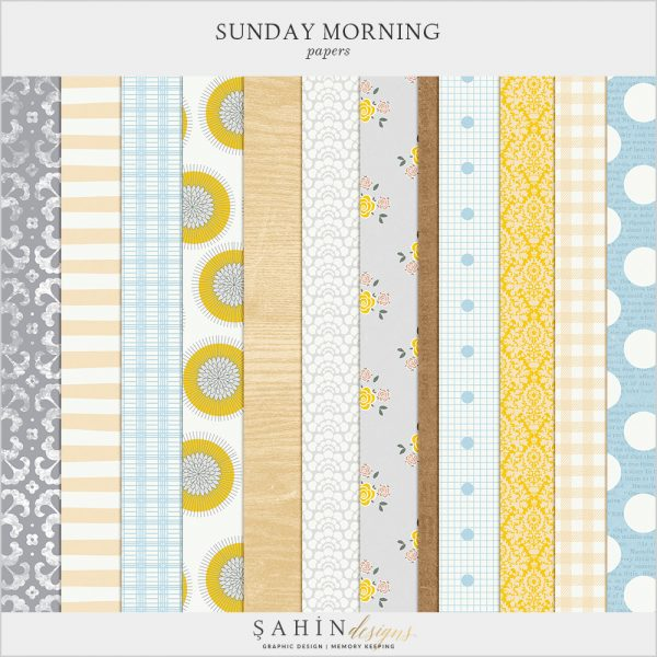 Sunday Morning Digital Scrapbook Papers by Sahin Designs. Click to download the kit. Pin & save for later!