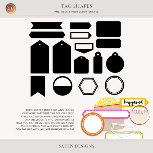 Tag & Label Photoshop Custom Shapes - Sahin Designs - CU Digital Scrapbook