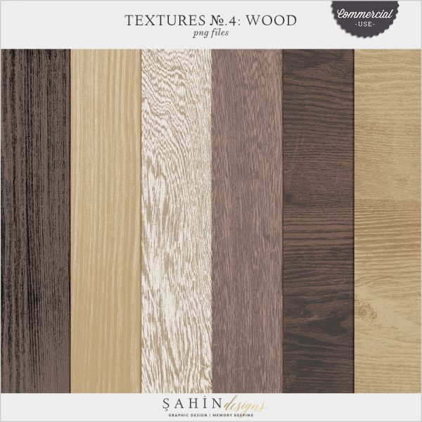 Textures No.4: Wood by Sahin Designs. Commercial Use Digital Scrapbook Supplies. Click to download the kit. Pin & save for later!