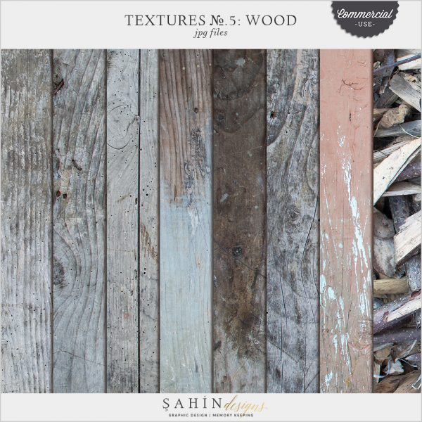 Textures No.5: Wood by Sahin Designs. Commercial Use Digital Scrapbook Supplies. Click to download the kit. Pin & save for later!